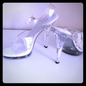 Clear acrylic peep toe ankle streep heels